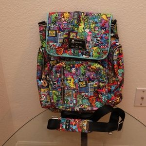 Be Sporty Backpack, Kaiju City Print - By Ju-Ju-Be